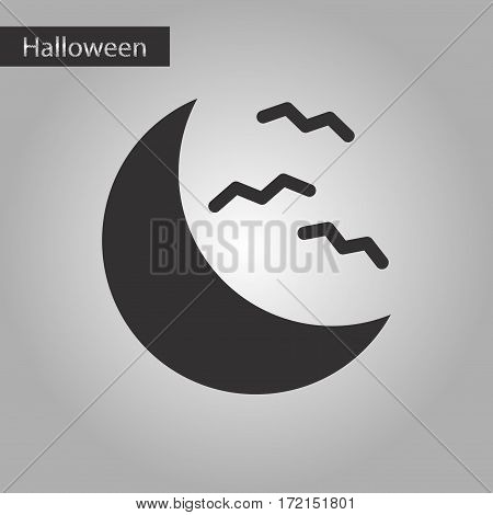 black and white style icon of halloween moon bats