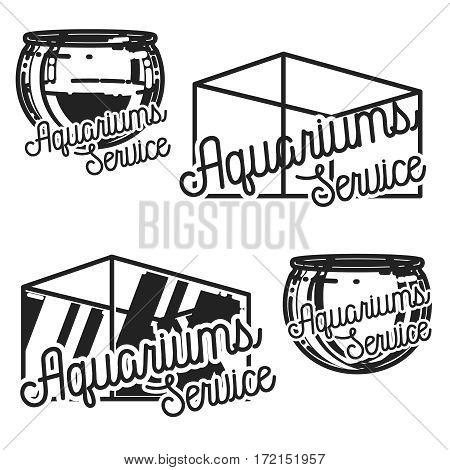vintage aquariums service emblems labels badges and design elements. Vector illustration, EPS 10