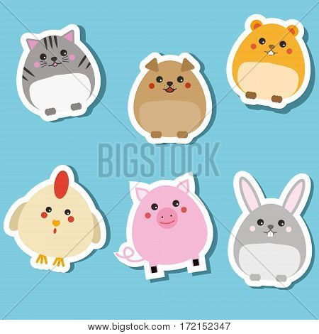 Cute domestic animals. Stickers set. Children style isolated design elements vector illustration. Cat, rabbit, puppy, pig, hamster. Isolated design elements for kids books