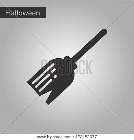 black and white style icon of halloween Witch's broom