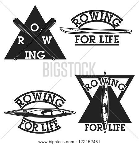 vintage rowing emblems, labels, badges and design elements. Vector illustration, EPS 10