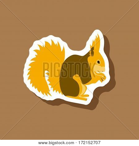 squirrel animal paper sticker on stylish background