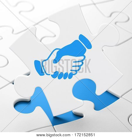 Business concept: Handshake on White puzzle pieces background, 3D rendering