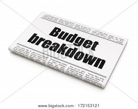 Business concept: newspaper headline Budget Breakdown on White background, 3D rendering