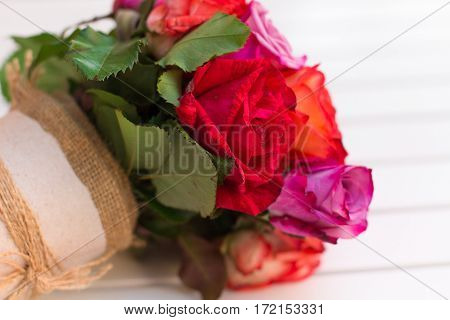 Beautiful Bouquet Of Roses On White Background. Dof
