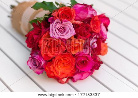 Beautiful Bouquet Of Roses On White Table