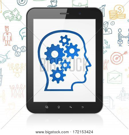 Business concept: Tablet Computer with  blue Head With Gears icon on display,  Hand Drawn Business Icons background, 3D rendering