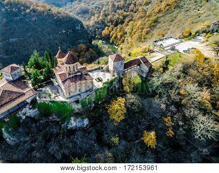 Peaceful georgian orthodox Motsameta Monastery nearby Kutaisi, Georgia, aerial
