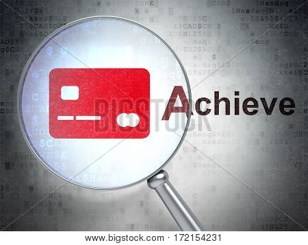 Finance concept: magnifying optical glass with Credit Card icon and Achieve word on digital background, 3D rendering
