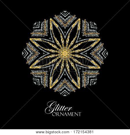 Luxury festive ornament with shiny silver and golden glitters. Vector illustration. Vintage glittering ornament. Jewelery pattern. Holiday paillettes decoration