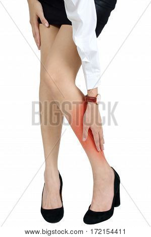 woman holding with massaging her calf in pain area Isolated on white background.