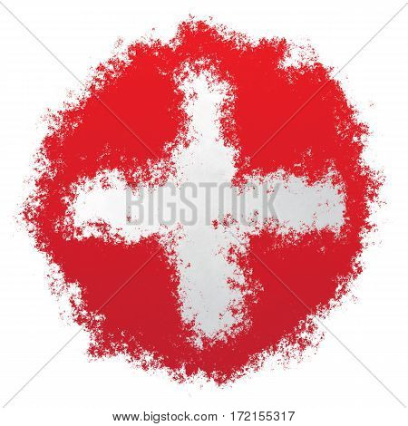 Color spray stylized flag of Switzerland on white background
