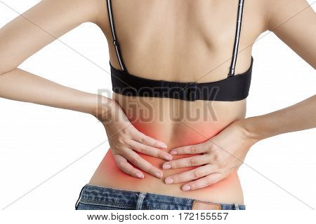 woman holding with massaging her back in pain area with red highlighted Isolated on white background.