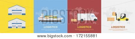 Set transport for transportation of goods. Land transportation and sea freight. Logistic concept flat vector illustration for business.