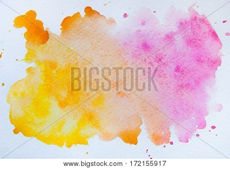 Watercolor blot isolated on white background. Pink and orange watercolor blot for your design