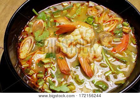 Tom Yum Kung Shrimp Soup With Milk, Meat, Fish, Mushrooms Spicy Taste.