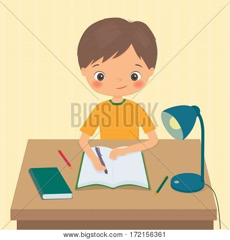 Little boy makes a homework. Cartoon vector illustration