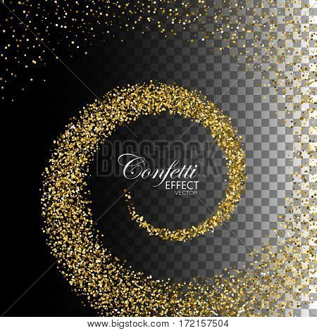 Glowing trail of golden confetti particles. Glittering swirl trail isolated on transparent checkered background. Spiral stream of sparkling particles. Decoration confetti element for design.
