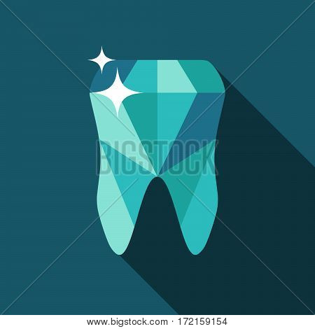 Tooth logo. Vector illustration for dental clinic branding with teeth in modern style - polygonal low poly