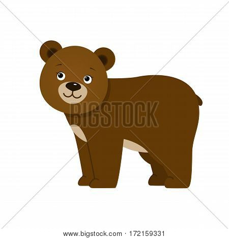 Brown bear, illustration for children. Design element for baby shower card, scrapbooking, invitation, childish accessories. Isolated on white background. Vector illustration.