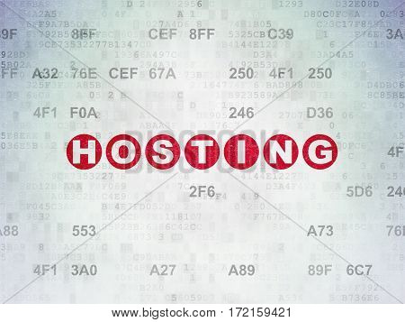 Web design concept: Painted red text Hosting on Digital Data Paper background with Hexadecimal Code