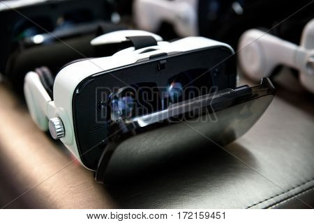 many reality reality VR helmet on dark background.