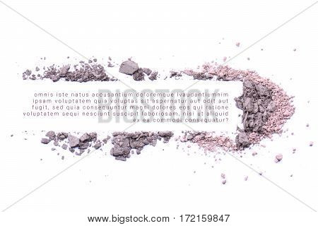 Makeup powder banner with text isolated on white background