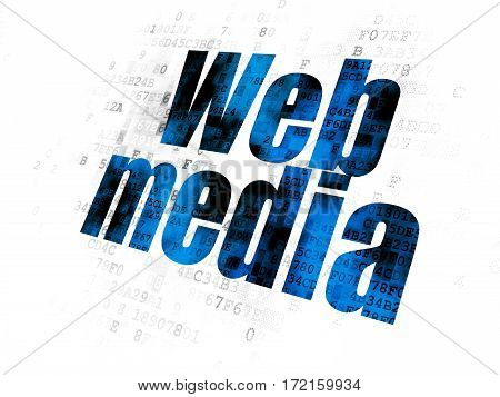 Web development concept: Pixelated blue text Web Media on Digital background