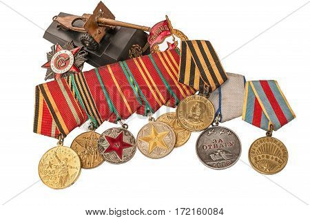 Orders Medals and mock gun the Great Patriotic War on a white background