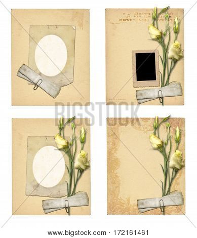 Set Of Old Archival Papers And Vintage Postcard With Bouquet