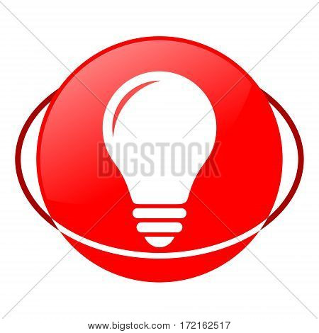 Red icon, bulb vector illustration on white background