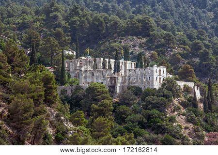 Scenic view of abandoned monastery on Mount Athos, Greece