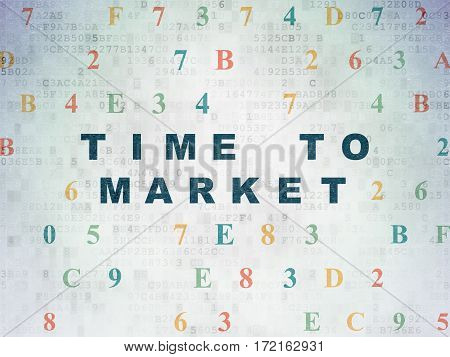 Timeline concept: Painted blue text Time to Market on Digital Data Paper background with Hexadecimal Code