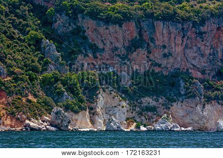 Scenic view of distant skete on Mount Athos, Greece