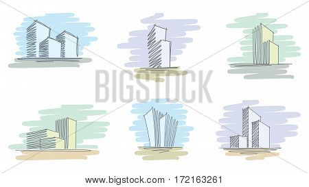 Hand sketches with pen and marker of city buildings. Vector illustration