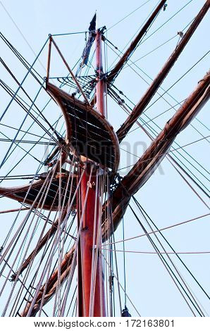 View from down of tall ship mast