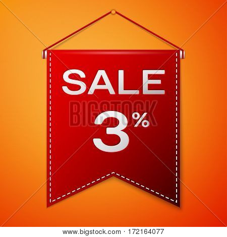 Red pennant with inscription sale three percent Discounts over a orange background. Sale concept for shops store market, web and other commerce. Vector illustration.
