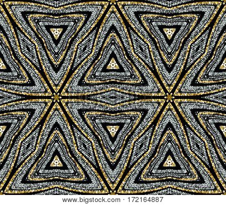 Luxury festive seamless pattern with shiny golden glitters. Vector illustration of glittering seamless background. Sparkling paillette geometric pattern. Applicable for print, fabric or package design