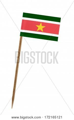 Tooth pick wit a small paper flag of Suriname