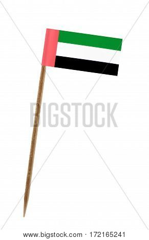 Tooth pick wit a small paper flag of United Arab Emirates