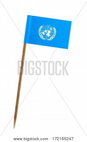 Tooth pick wit a small paper flag of United Nations