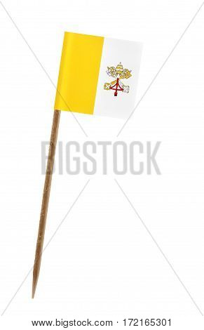 Tooth pick wit a small paper flag of Vatican City