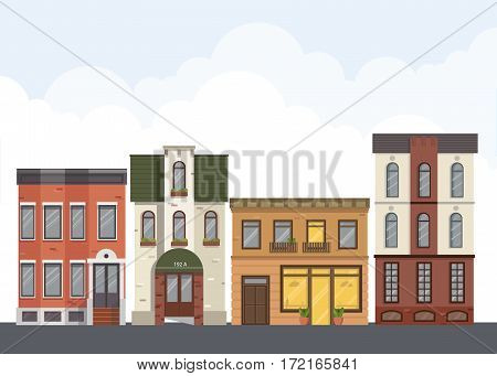 Street landscape. City street with urban buildings,apartment , shops, houses in flat style.