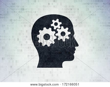 Advertising concept: Painted black Head With Gears icon on Digital Data Paper background