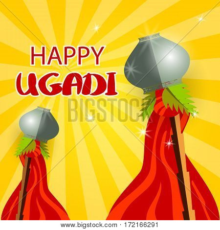 Happy ugadi celebration of India. Vector illustration background Happy Gudi Padwa lettering. Template greeting card holiday. Grey festive pot, bamboo, green palm leafs, red flag, fylfot cross.