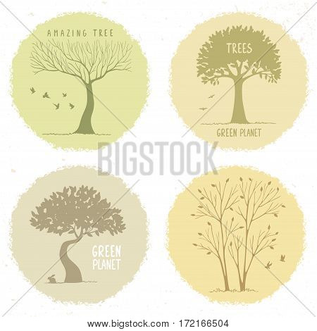 Beautiful set of silhouette amazing trees on a grunge circle. Vector illustration