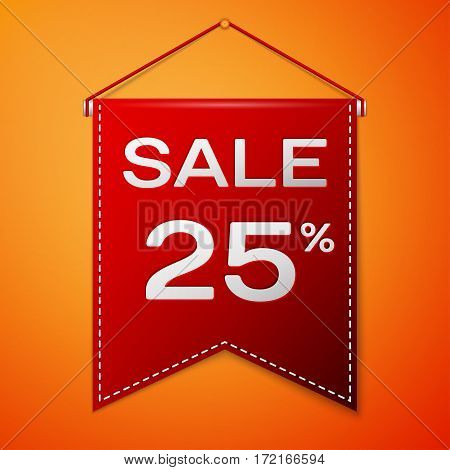 Red pennant with inscription sale twenty five percent Discounts over a orange background. Sale concept for shops store market, web and other commerce. Vector illustration.