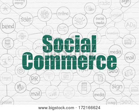Advertising concept: Painted green text Social Commerce on White Brick wall background with Scheme Of Hand Drawn Marketing Icons