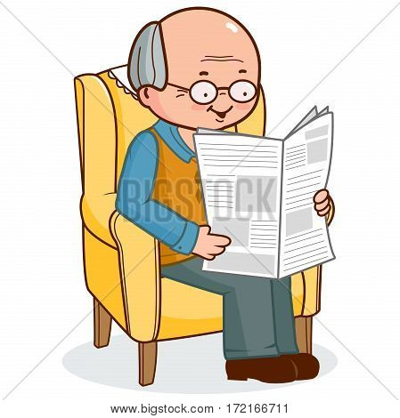 Old man sitting in armchair reading the newspaper