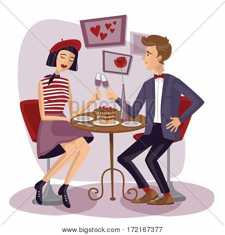 Couple having dinner with wineglasses. Lovers Man and woman sitting at the table. Cute girl and boy in cafe. Valentine's Day. Love card. Save the date. Vector illustration in flat style